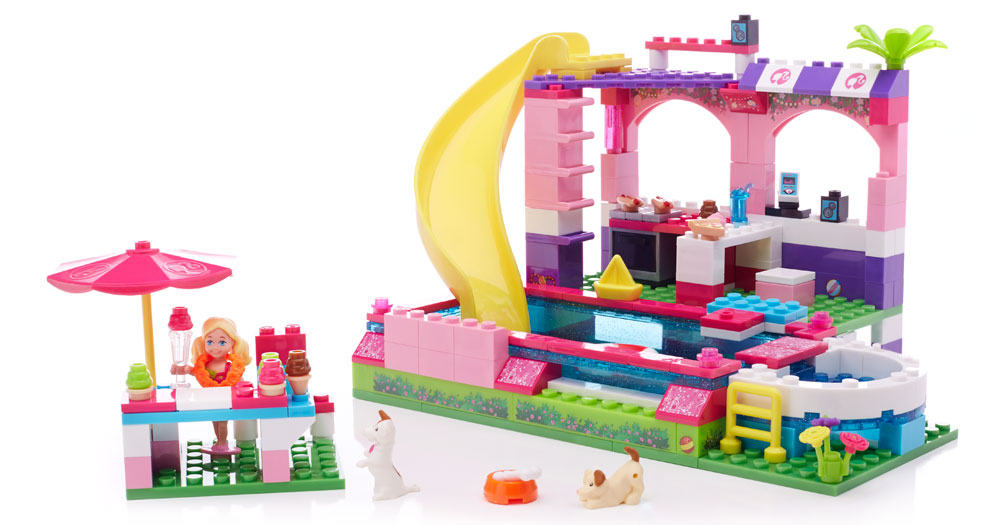 mega bloks barbie pool party instructions